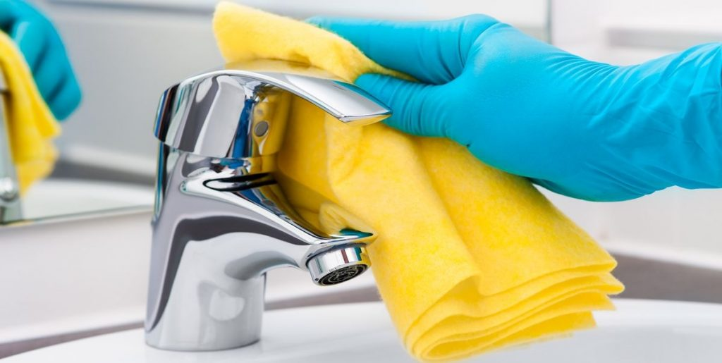 how to clean sink faucet: Use soapy water