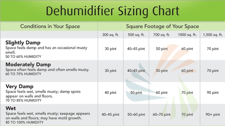 choose the right size dehumidifier